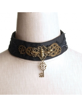 Choker steam punk negru
