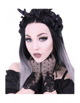 Gothic dotted gloves with lace decoration, romantic