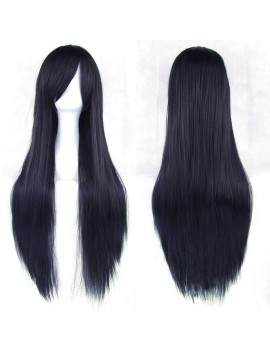Long Black wig with blue reflex