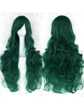 Peruca verde ondulata lunga