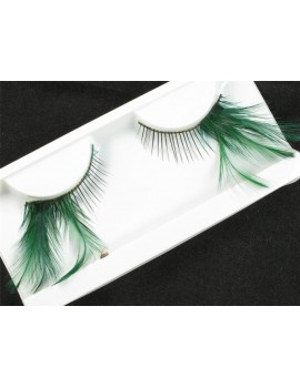 Faux Feather green lashes